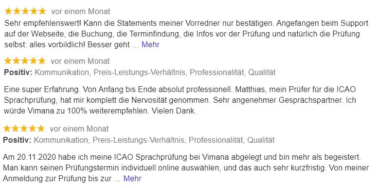 Google Kundenrezensionen - Vimana GmbH